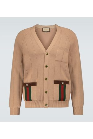 Gucci Knitted wool-blend cardigan with Web