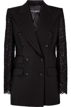 Dolce & Gabbana Kobieta Marynarki i Żakiety - Lace-trimmed wool-blend blazer