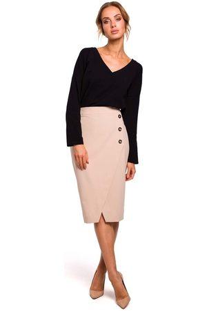 MOE Beżowa ołówkowa spódnica z asymetryczną zakładką i guzikami