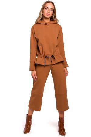 MOE Kamelowe spodnie dzianinowe 7/8 z szerokimi nogawkami