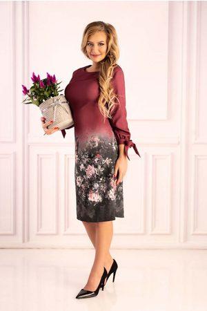 Merribel śliwkowa sukienka z motywem kwiatów z wiązanym mankietem