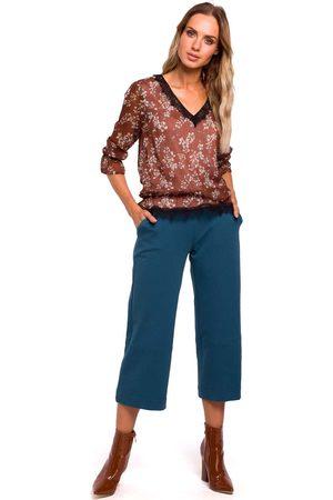 MOE Morskie spodnie dzianinowe 7/8 z szerokimi nogawkami