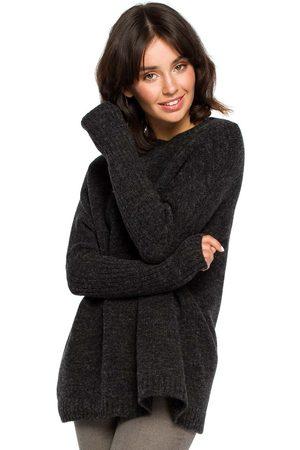 MOE Antracytowy oversizowy sweter z niewielką stójką