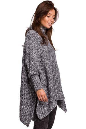 MOE Asymetryczny sweter-ponczo z golfem - antracyt