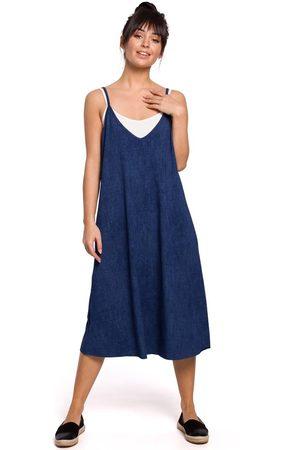 MOE Bawełniana sukienka na ramiączkach - denim
