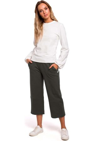 MOE Zielone spodnie dzianinowe 7/8 z szerokimi nogawkami