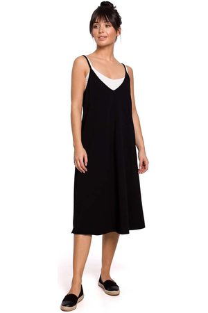 MOE Bawełniana sukienka na ramiączkach - czarna