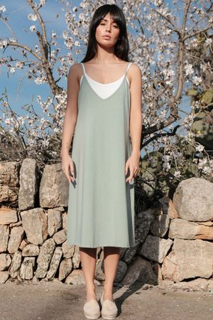 MOE Bawełniana sukienka na ramiączkach - pistacjowa