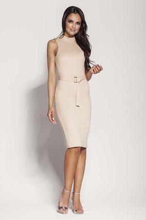 Dursi Beżowa elegancka ołówkowa sukienka z połyskiem