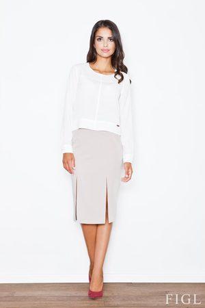 Figl Beżowa elegancka ołówkowa spódnica z podwójnym pęknięciem