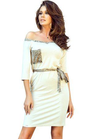 Numoco Beżowa codzienna dresowa sukienka z kieszeniami