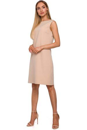 MOE Beżowa stylowa sukienka z dekoltem na plecach
