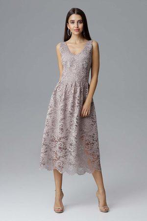 Figl Beżowa rozkloszowana sukienka koronkowa na szerokich ramiączkach