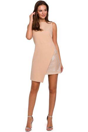 Makeover Beżowa wieczorowa asymetryczna sukienka mini