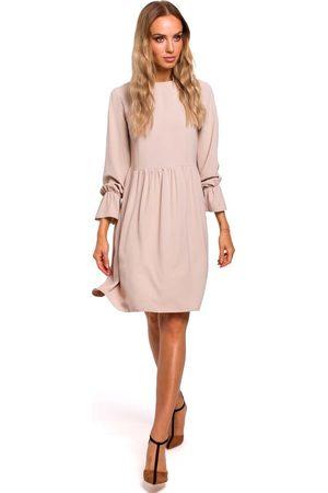 MOE Beżowa sukienka z rękawami z gumką i falbanką