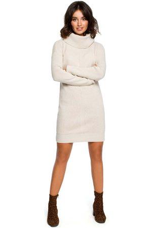MOE Długi sweter- sukienka z szerokim golfem