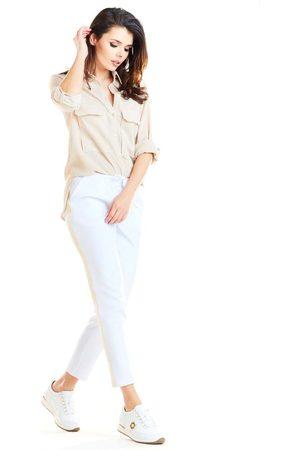 Awama Białe casualowe spodnie z lampasami