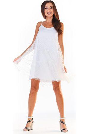 Awama Biała tiulowa sukienka w groszki na ramiączkach