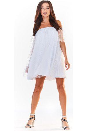 Awama Biała sukienka typu hiszpanka z siateczką w groszki