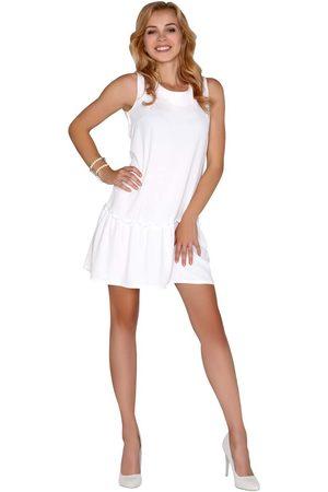 Merribel Kobieta Sukienki koktajlowe i wieczorowe - Biała sukienka z obniżonym stanem wiązana na plecach