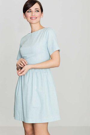 Katrus Błekitna bawełniana sukienka z krótkim rękawem