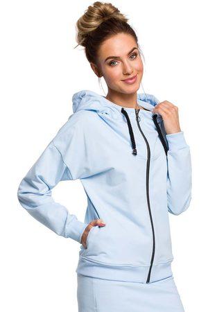 MOE Kobieta Bluzy z kapturem - Błękitna rozpinana bluza z kapturem