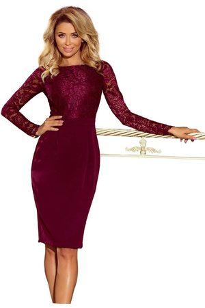 Numoco Kobieta Sukienki dopasowane - Bordowa dopasowana elegancka sukienka z koronką