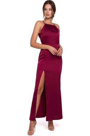 Makeover Bordowa maxi sukienka z dekoltem holter neck