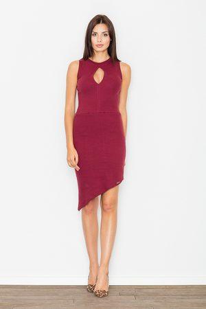 Figl Kobieta Sukienki asymetryczne - Bordowa asymetryczna dopasowana sukienka z łezką