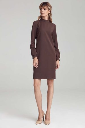 Nife Brązowa prosta sukienka ze stójką