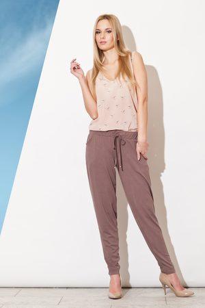 Figl Brązowe długie spodnie z troczkami