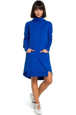MOE Chabrowa dresowa asymetryczna sukienka z golfem