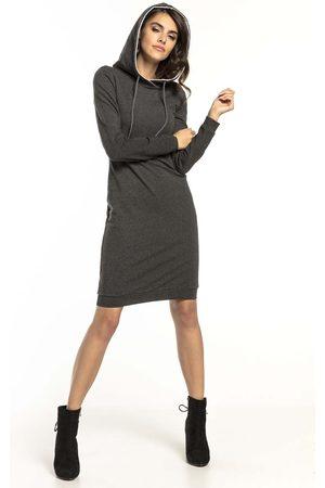 Tessita Ciemnoszara dresowa sukienka w sportowym stylu z kapturem