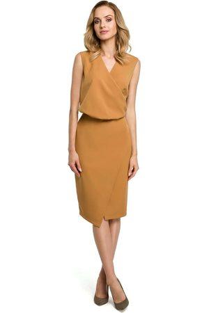 MOE Kobieta Sukienki bez rękawów - Cynamonowa wizytowa sukienka kopertowa bez rękawów