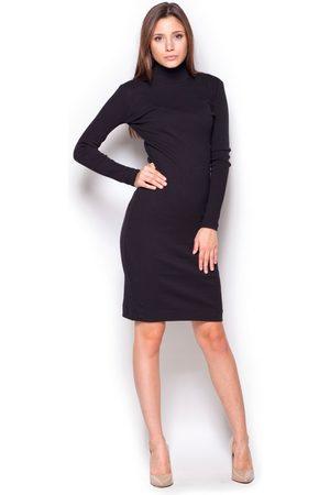 Figl Czarna casualowa prążkowana sukienka z golfem
