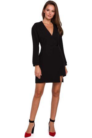 Makeover Czarna asymetryczna sukienka kopertowa