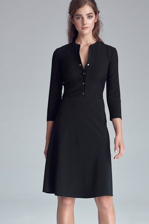 Nife Czarna casualowa skromna sukienka zapinana na napki