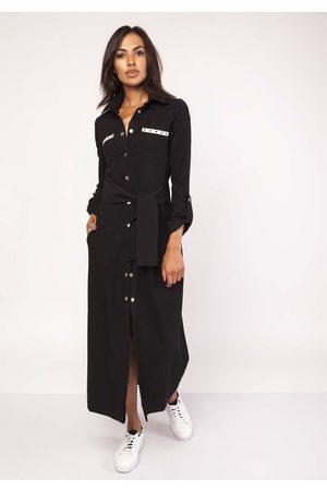 Lanti Czarna długa koszulowa sukienka z militarnym akcentem