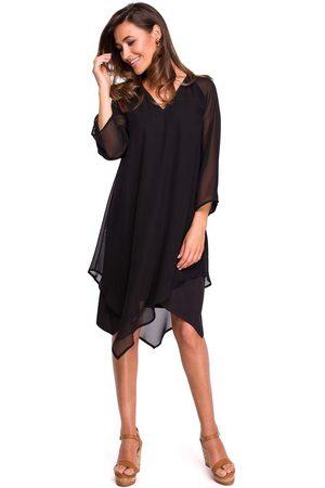 MOE Czarna asymetryczna sukienka dwuwarstwowa z dzwonkowym rękawem