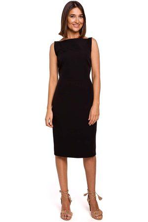 MOE Czarna dopasowana sukienka bez rękawów