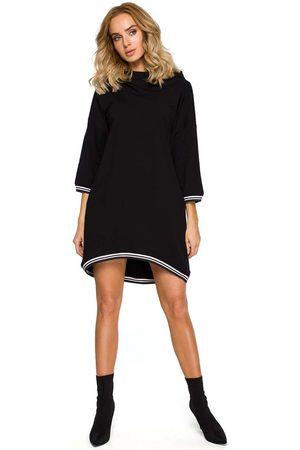 MOE Czarna dzianinowa asymetryczna sukienko-bluza z kapturem