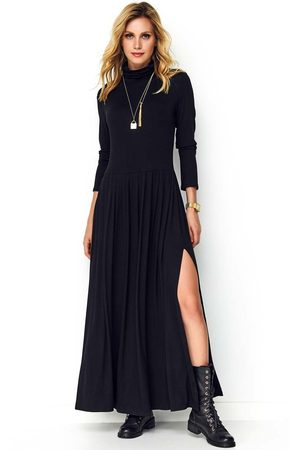 Makadamia Czarna dzianinowa maxi sukienka z golfem