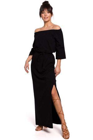 MOE Czarna dzianinowa długa sukienka z szerokim dekoltem
