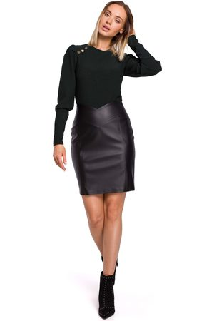 MOE Czarna dopasowana spódnica mini z eko-skóry