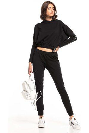 Tessita Czarna dresowe spodnie z dekoracyjną taśmą