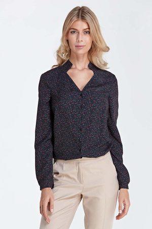 Nife Czarna elegancka bluzka z ozdobnym dekoltem w łączkę