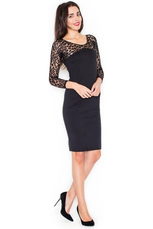 Katrus Czarna elegancka ołówkowa sukienka z koronkowym długim rękawem