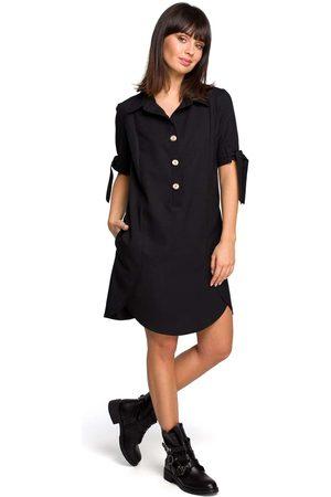 MOE Czarna koszulowa sukienka tunika z wiązaniem na rękawach