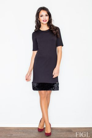 Figl Czarna elegancka ołówkowa sukienka z futrzaną wypustką