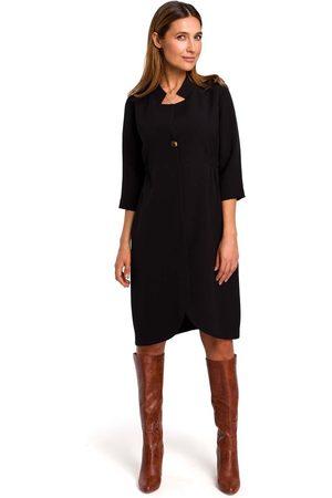 MOE Czarna elegancka sukienka żakietowa z pagonami